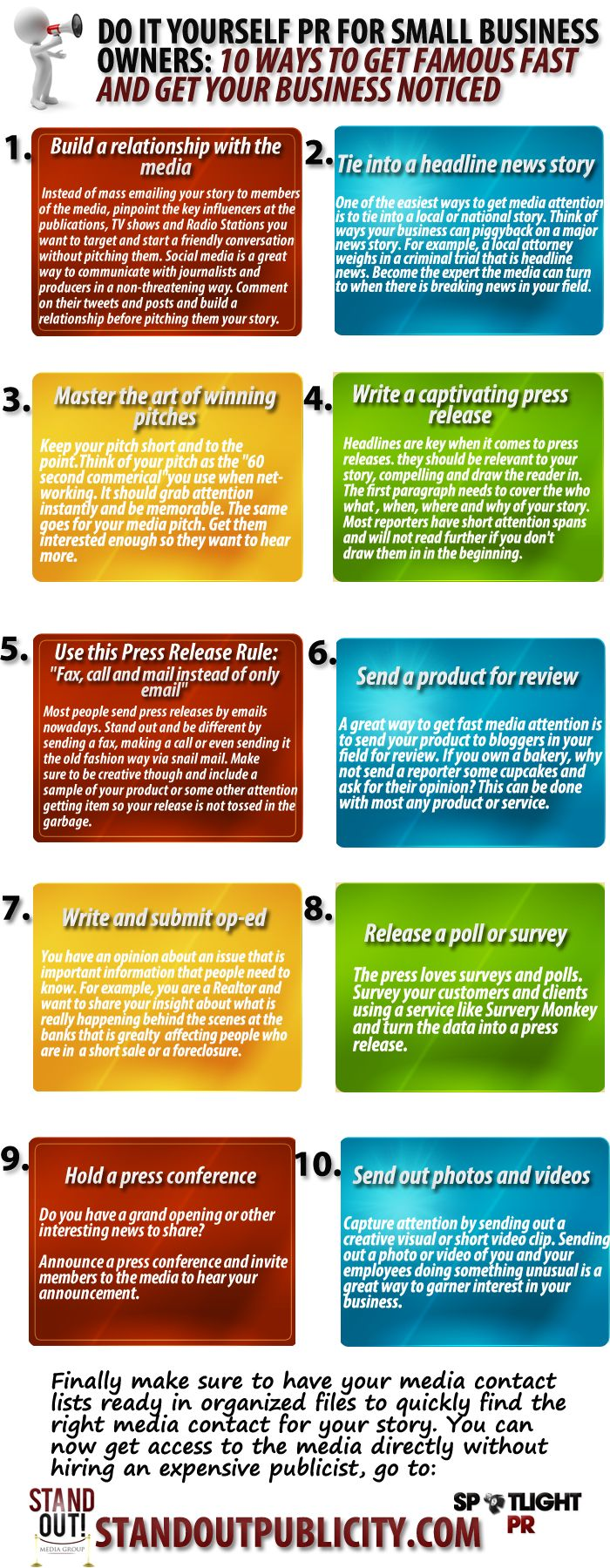 Do it Yourself PR for Small Business Owners: 10 ways to get famous fast and get your business noticed Infographic