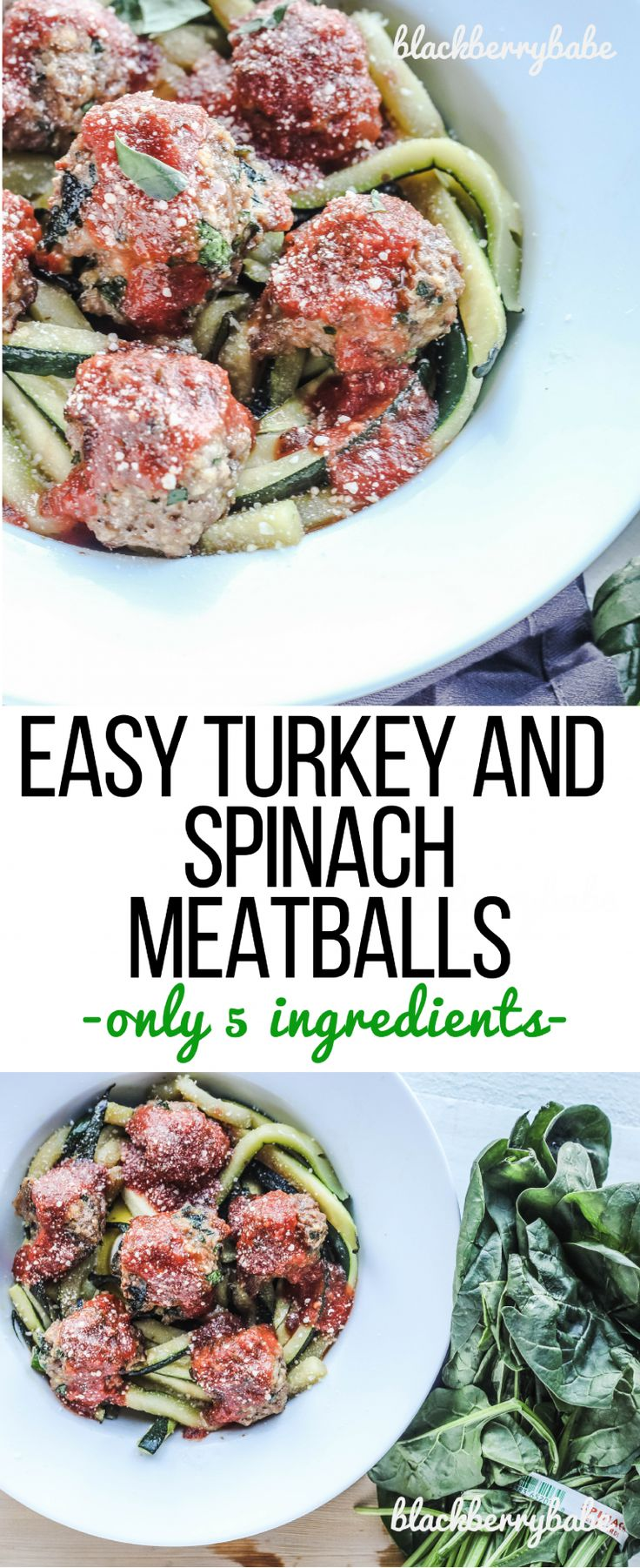 Your family will love these Easy Turkey Spinach Meatballs! Serve with marinara over rice, pasta or zucchini noodles for an easy weeknight dinner.