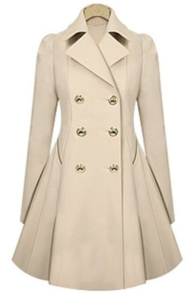 Elegant Women s Turn-Down Collar Double Breasted Long Sleeve Trench Coat