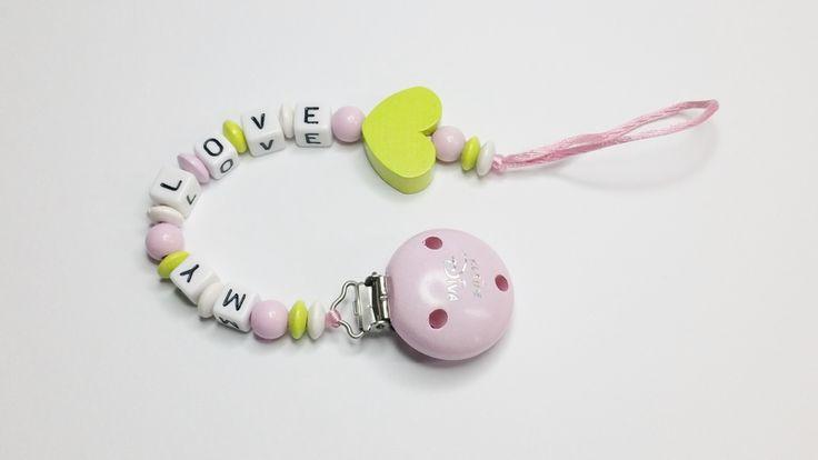 Schnullerkette My Love Kleine Diva Herz md426 von myduttel auf DaWanda.com
