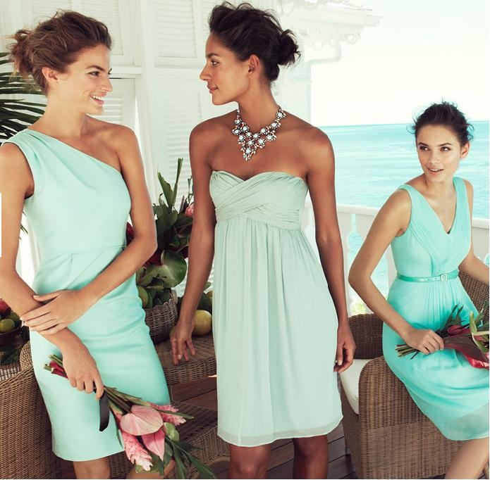 Sunwashed Aqua, Dusty Shale | J.Crew Bridesmaid love these colors