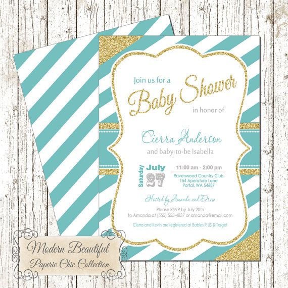 Blue and Gold Baby Boy Shower invitation with stripes and simulated glitter accents. This listing comes with a coordinating back file.    If a