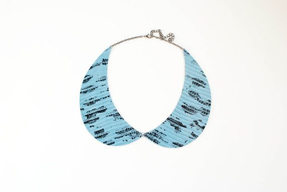 Peter Pan collar necklace in blue laquered printed by elfinadesign