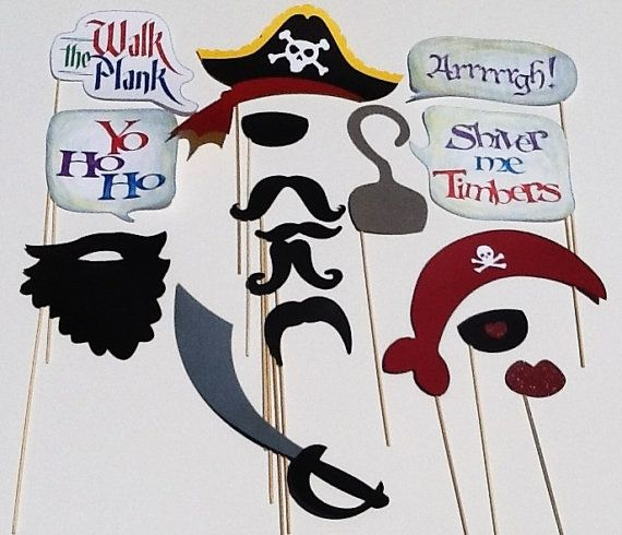 Photo Booth Props  Pirate Party  Set of 16 by CraftingbyDenise, $30.00