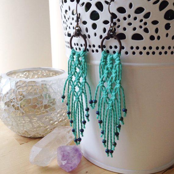 Macrame Earrings Turquoise by PaisleyandBrownPaper on Etsy