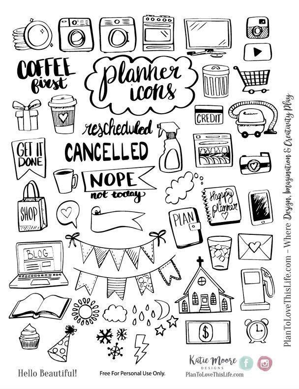 Kostenlose druckbare handgezeichnete Planer Icons von Plan, dieses Leben zu lieben {Scheck speichern