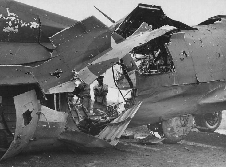 """Bomber B-17G-25-DL """"Sweet Pea"""" (serial number 42-38078) received a direct hit by flak during a raid on the Hungarian city of Debrecen 21.09.1944 . Despite the critical damage, the pilot Guy Miller (Guy M. Miller) was able to return to Amendola airfield in Italy. Radio operator Anthony Ferrara (Anthony Ferrara) and the shooter James McGuire (James F. Maguire) were wounded, the shooter Elmer Bass (Elmer H. Buss) was killed immediately"""