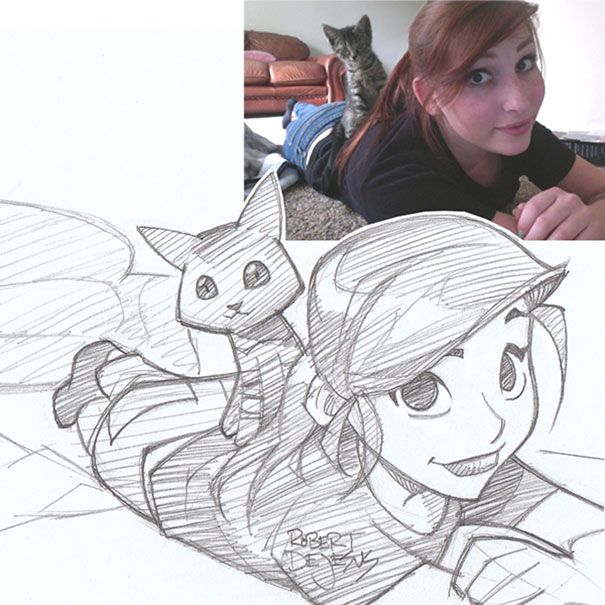 http://www.boredpanda.com/anime-sketches-from-photos-robert-dejesus/ // cute-anime-sketches-robert-dejesus-12