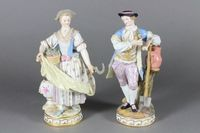 """A pair of """"Meissen"""" porcelain figures of lady and gentleman gardener, the base with crossed swords mark and incised 68122  7"""", scythe restored,  ILLUSTRATED SOLD FOR £730"""