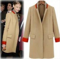 2017 Новая мода кашемир шерсть куртка женщин вскользь зимнее пальто толщиной верхней одежды плюс размер красивый шерстяной блейзер длинную траншею пальто
