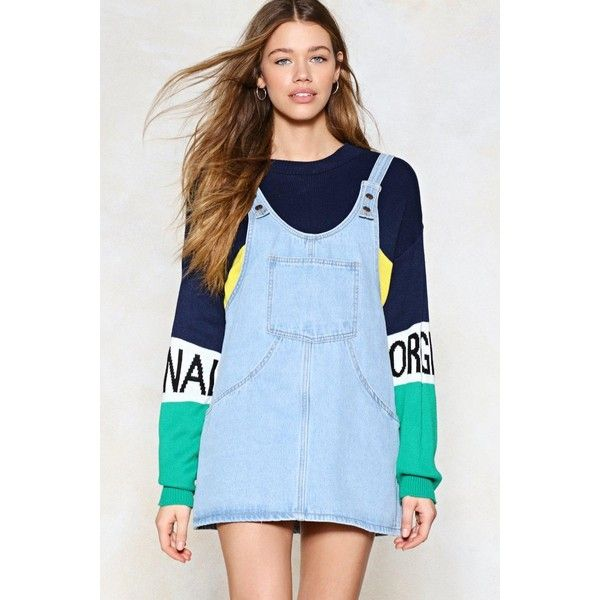 72fc79eff0 Nasty Gal Day Tripper Denim Pinafore Dress (170.550 COP) ❤ liked on  Polyvore featuring dresses
