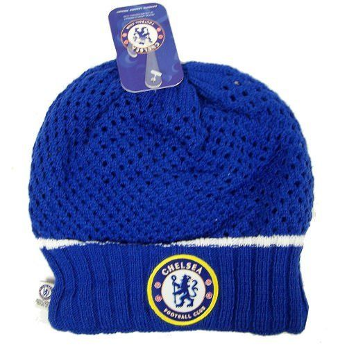 Official Chelsea FC Crochet Beanie Knit Hat Cap Gorro Gorra by Chelsea F.C.. $6.43. Perfect for guys and girls. 100% Acrylic construction. Super soft and warm. Hand washable.. Official team logo and colors.. Adult One Size Fits Most.. Officially licensed by the league and the team.. Awesome design features features crochet look, embroidered team logo and team logo patch.. Top-quality construction. Built to last for seasons to come.. Chelsea FC fans can stay styl...