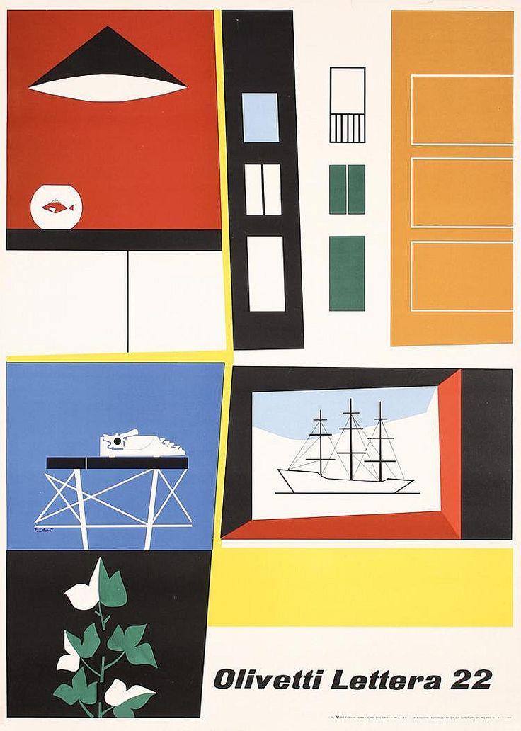 1951 Italian Olivetti Lettera Design Poster