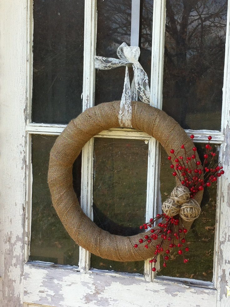 Burlap and Lace Christmas Wreath