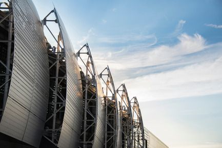 Pavillon universitaire Alouette - UQAC - BGLA  Filtres d' aluminium  - Crédit photo : Optik 360°  #Bois #Architecture #BGLA #aluminium #laboratoire #école #université #design #québec #canada #panneau #solaire