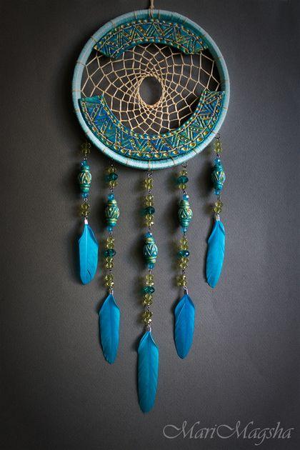 Hunters handmade dreams.  Order Dreamcatcher.  MariMagsha (Maria).  Arts and crafts fair.  Light turquoise, dream catcher, flowers