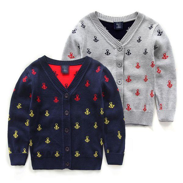 Детский трикотаж из Китая :: Детей к 2015 году осенью новый морской якорь печати ребенка детей кофты мальчиков свитера хлопка кардиган куртки волны.
