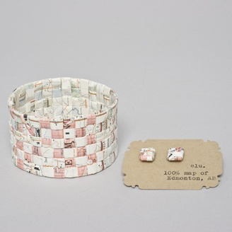 Fine Craft Cuffs and Earrings made out of Maps by Claire Uhlick - Edmonton, Alberta. Member of the Alberta Craft Council.