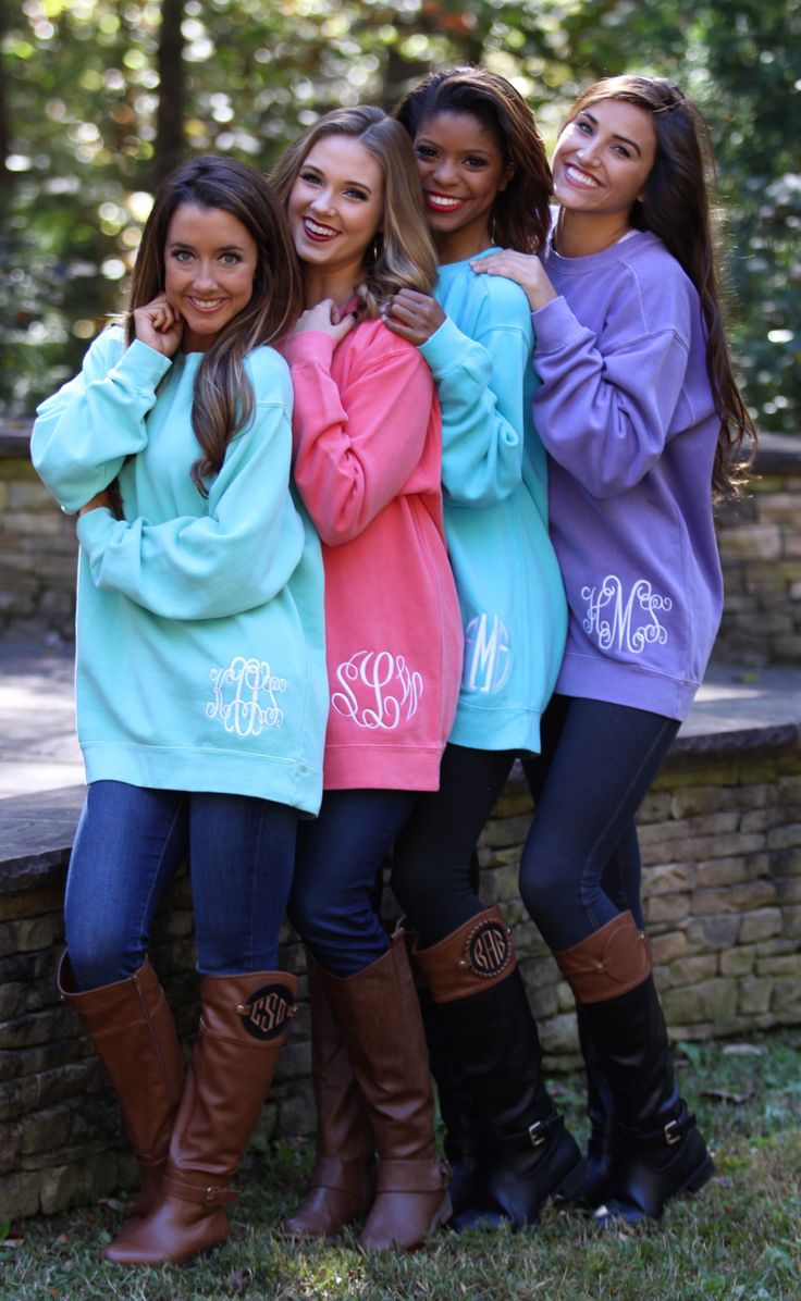 Monogrammed sweatshirts & boots from @marleylilly. Be sure to enter our giveaway with Marley Lilly on Instagram (@Srathardforlife)