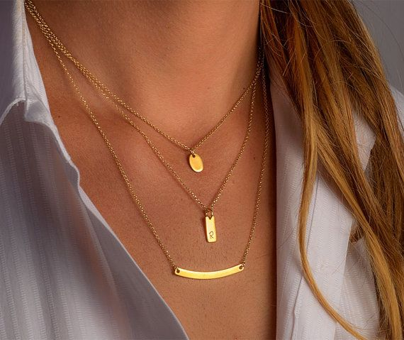 Gold Layered Necklace Set Sterling Silver gold by TheSilverWhale