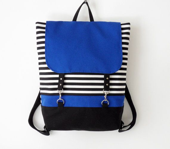 BLUE. Black stripe canvas backpack / Laptop backpack / School bag / Laptop bag / With clasp closure, Front pocket, Design by BagyBags