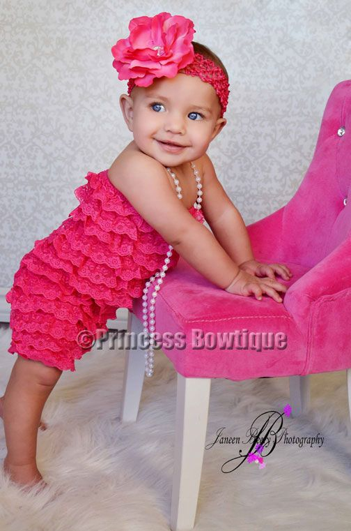 Lace Romper.. Love this! Paisley has this chair, so all she needs is the romper!