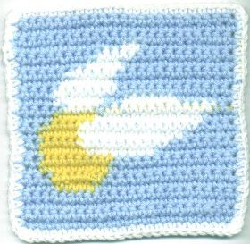 Pattern. Crocheted Golden Snitch Square.