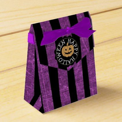 #Happy Halloween Black and Purple Party Favor Bags Favor Box - #halloween #candy #craft #supplies #party #ideas #idea