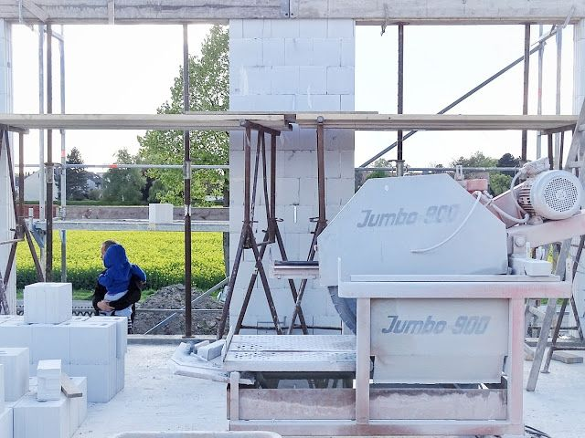 Bautagebuch Teil 3 | Bau eines freistehenden Einfamilienhauses | Über den Rohbau bis zum Richtfest | www.mammilade.blogspot.de | Steinsäge