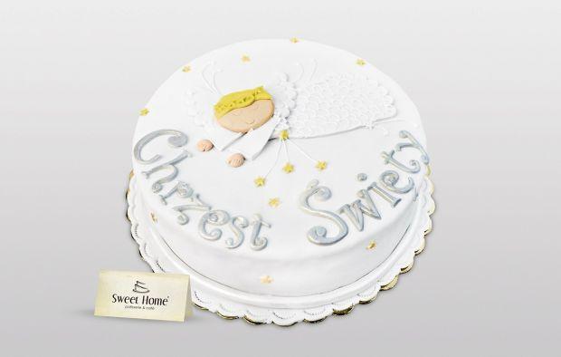 Tort na chrzciny z aniołkiem