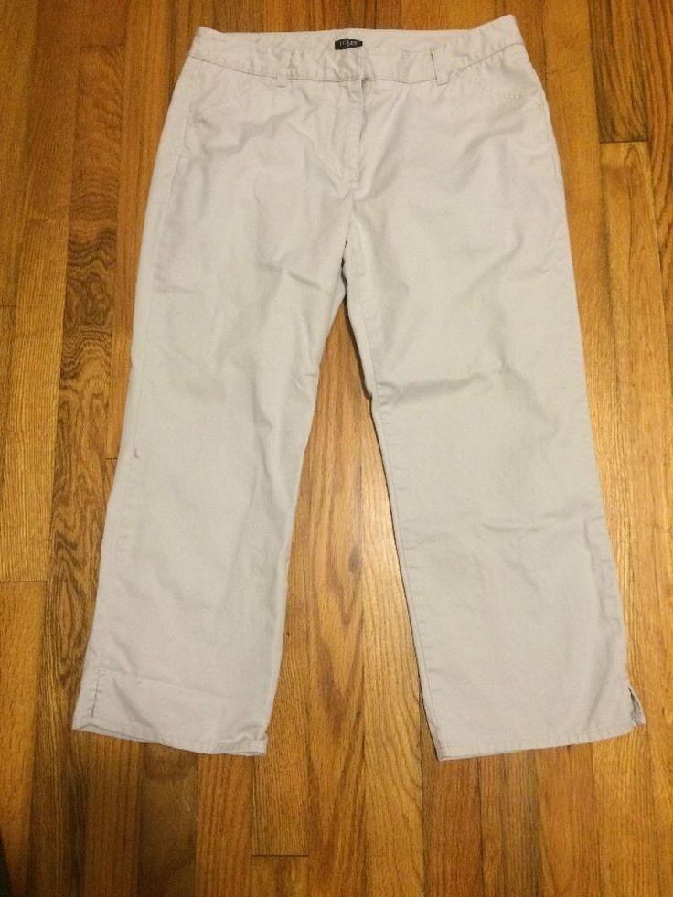 J. Crew Women's Khaki Cropped Capri Pants Size 8 Favorite Fit  | eBay