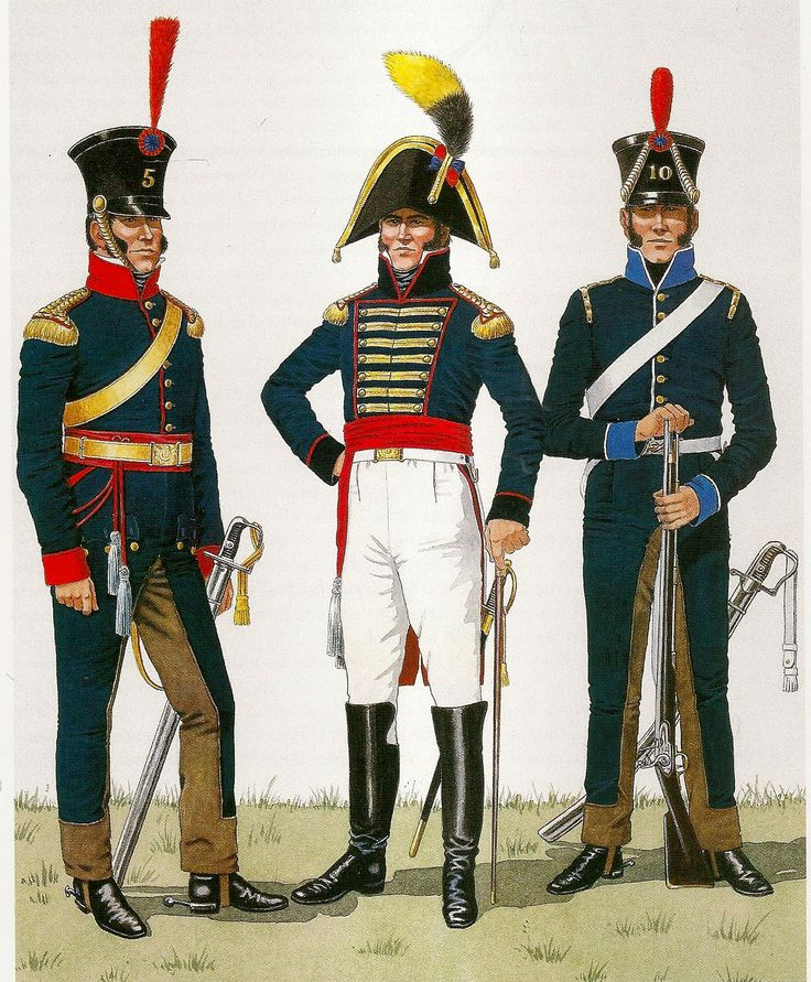 (Left) Officer of the 5th Cavalry Regiment, 1811-1815.(Center) Staff Officer toGarrison Govenor1806-15.( Right) Soldier of the 10th Cavalry. 1810-15 Portugais