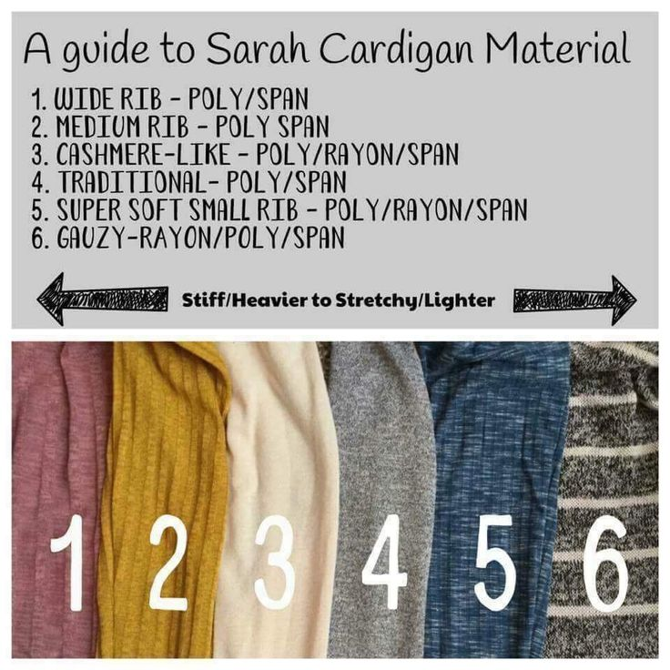Different materials that the LuLaRoe Sarah Cardigan comes in  www.facebook.com/groups/LuLaRoebyElliK/