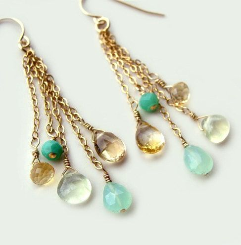 Calypso Earrings with Chrysoprase Aqua Chalcedony от FlowDesigns