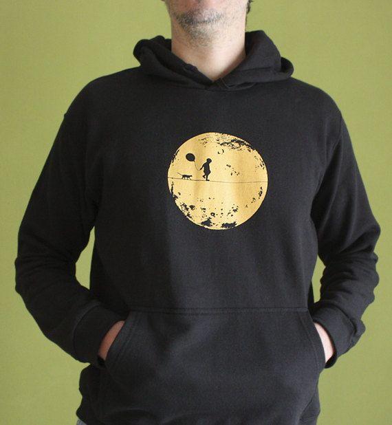 Moonchild Hoodie, Moon, Kid, Kitty, Amber Yellow on Black, Sweatshirt, Silkscreen, Hand Printed, Gift for Him, Men's Fashion, Screen print