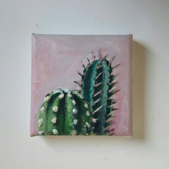 Original Cactus Painting Small Painting Original Acrylic