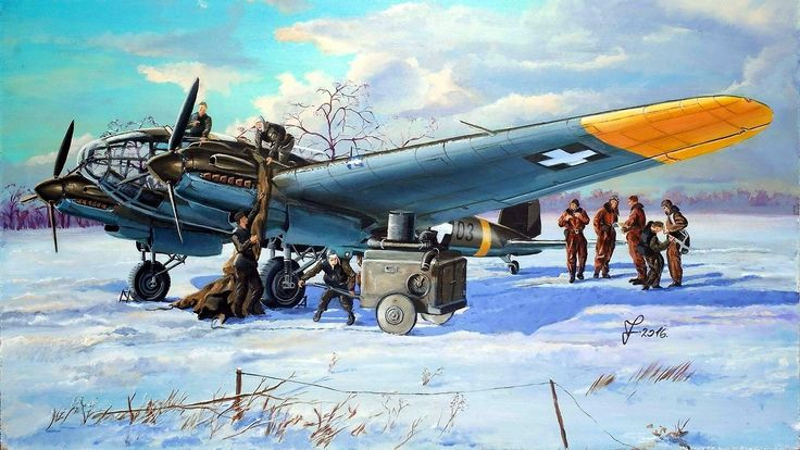 """1943 Heinkel He 111 Hungary - Vincze Ferenc """"Ready to fly""""Royal Hungarian Air Force 1/1 Long-distance Reconnasissance Squadron's Heinkel He-111P-2 (F.7+03) in the airfield of Kharkov (january 1943)"""