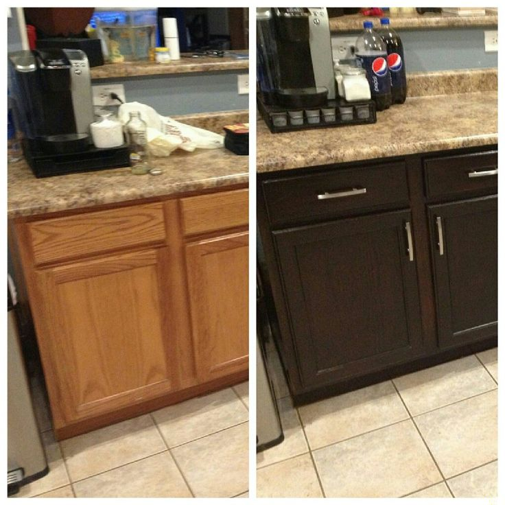 Diy kitchen cabinet restaining a broken restain laminate for Staining kitchen cabinets