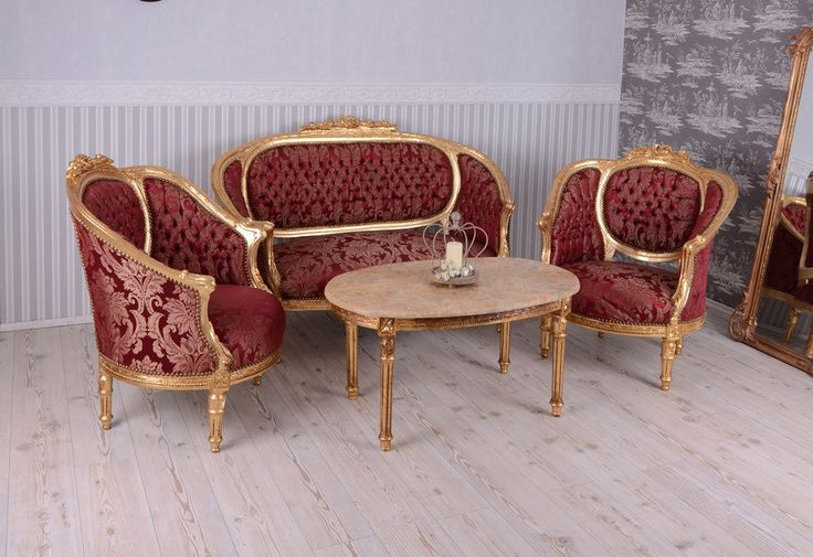 Sitzgarnitur Barock Sofa Sessel Tisch Marmorplatte Salon Sitzgruppe | eBay