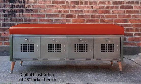 48in Locker Bench Seat with Red Vinyl by ArtspaceIndustrial