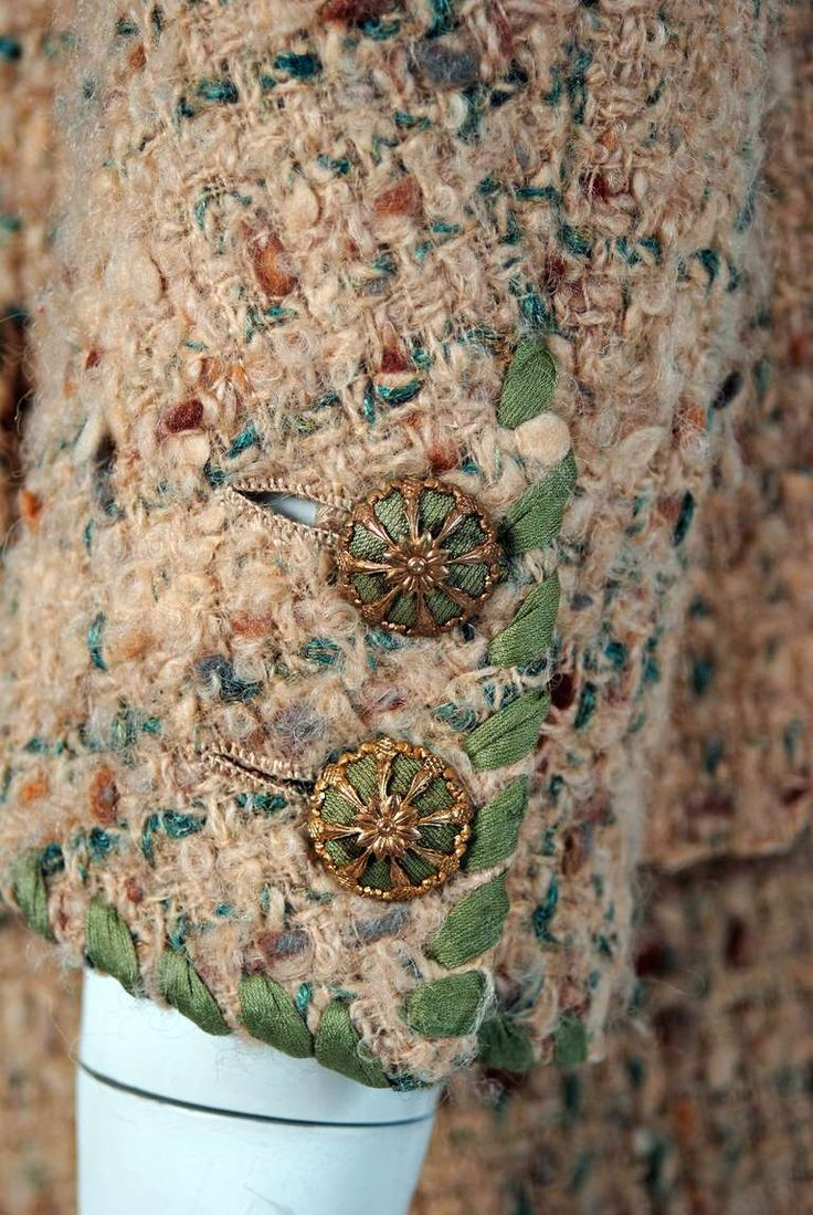 1958 Chanel Haute-Couture Oatmeal Green Wool Tweed Skirt & Jacket Suit | From a collection of rare vintage suits, outfits and ensembles at http://www.1stdibs.com/fashion/clothing/suits-outfits-ensembles/