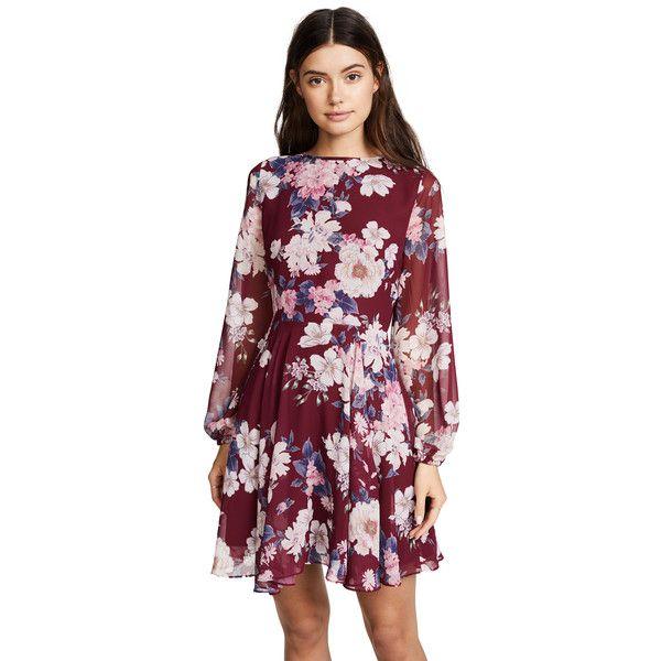 Yumi Kim Carousel Dress ($230) ❤ liked on Polyvore featuring dresses, amazing grace burgundy, long sleeve floral dress, long sleeve dress, purple dress, purple floral dress and long sleeve short dress