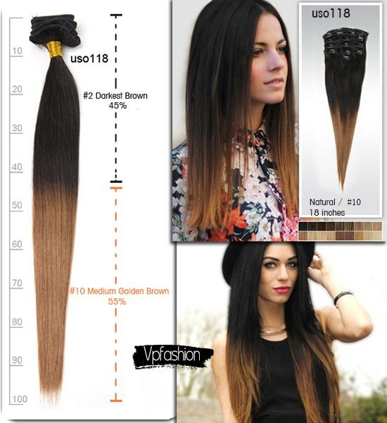 18 Inches Two-Tone Remy Ombre Extension uso118 for Easy Formal Hair Styles 2014 black ombre hair styles