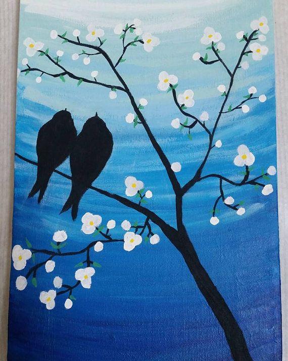 Love Birds canvas painting 10x20 acrylic