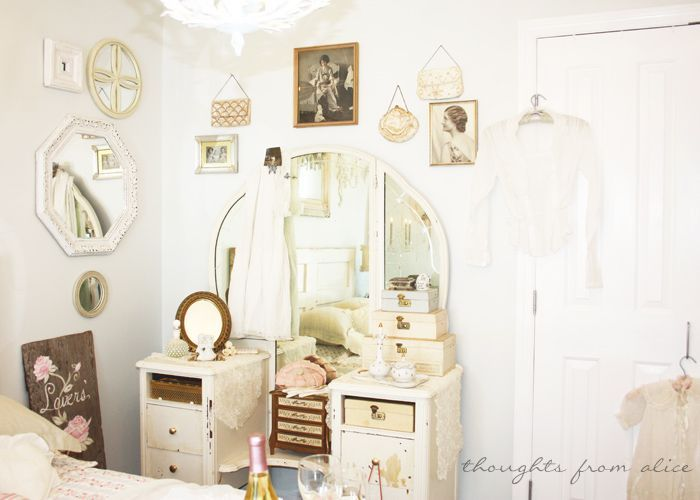 Thoughts from Alice: Romantic Cottage Chic Bedroom {in a Rental} - Romantic, Old Hollywood Vanity Decor