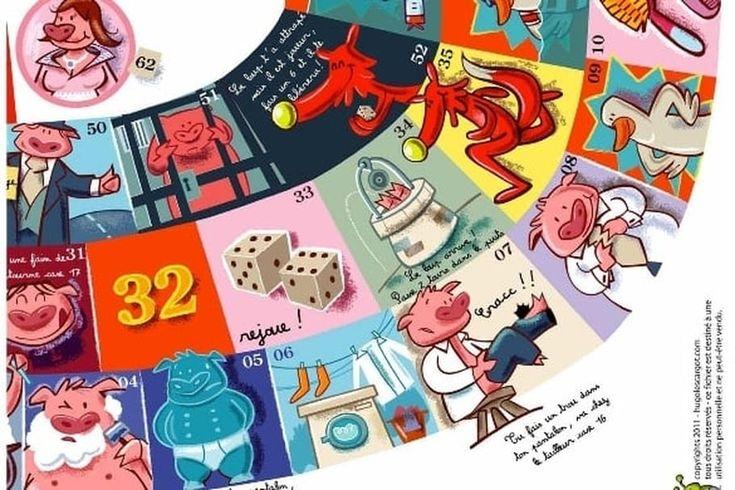 """Les grands jeux classiques sont sur Hugo, dans un magnifique cahier de jeux créé spécialement pour toi par Pascal Marchais. Quoi de mieux qu'une petite partie de bataille navale revisitée ou un jeu de petits chevaux à la sauce """"Petites abeilles"""". Et si ces deux-là ne te tentent pas, tu pourras toujours essayer une partie de jeu de l'oie ou de dames. Têtes sinistres et mauvais poils interdits, ici on s'amuse grave!!!"""