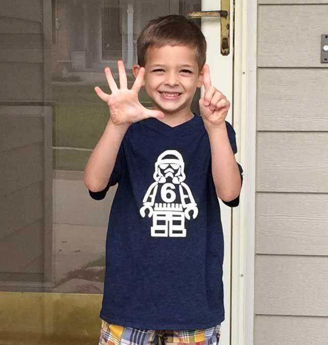 Lego Star Wars Stormtrooper Birthday Shirt - (Free Printable)