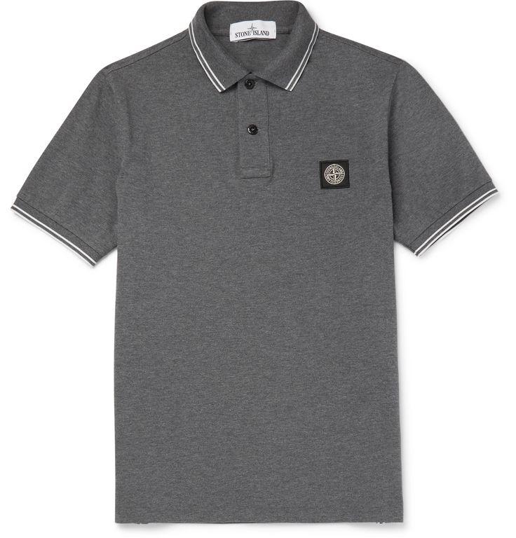 Stone Island - Contrast-Tipped Stretch-Cotton Piqué Polo Shirt