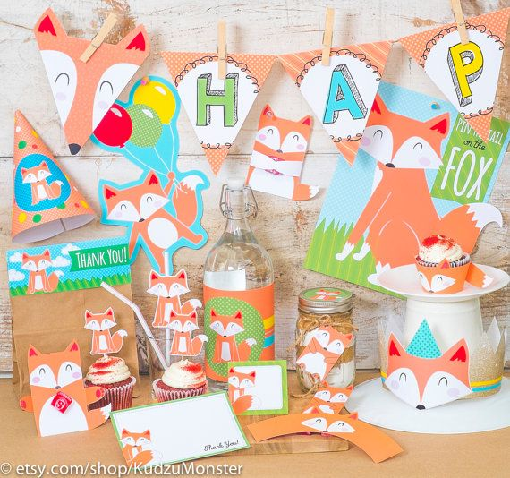 Fox woodland Party printable decor kit fox cupcake от KudzuMonster