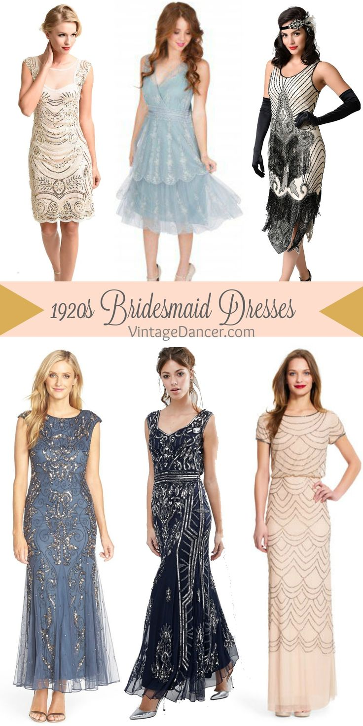 1920s bridesmaid short dresses and long gowns. Great Gatsby , Prohibition, Art Deco, Old Hollywood themes.